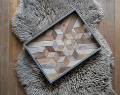 Wood Serving Tray   Wood Tray   Reclaimed Wood   Decorative Tray   Rustic Geometric  Table Tray   Cube Mix   Blue Grey Tray  