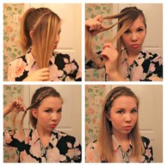 "For this look, gather a two-ish inch section of hair in front that goes down to your ear. Throw the rest in a pony for now. Then prepare the area for braiding by splitting the top part into three sections. NOW FOR THE TWIST -- braid the hair under instead of over. This gives you the ""inside-out"" braid look that is 3D and cool, yo."
