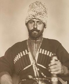 The fasciating collection includes a Russian Cossack who is pictured in traditional costume and weapons