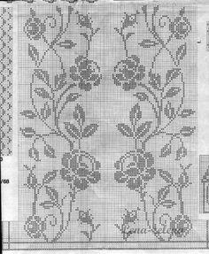 Filet Crochet Charts, Crochet Diagram, Crochet Motif, Cross Stitch Borders, Cross Stitch Designs, Cross Stitch Patterns, Tatting Patterns, Loom Patterns, Crochet Patterns