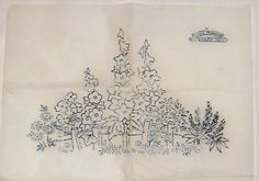 Vintage-Briggs-embroidery-transfer-Hollyhock-Larkspur-flower-border-fence