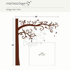 Tree Wall Decal  nursery wall decal - Corner Tree - 33. $110.00, via Etsy.
