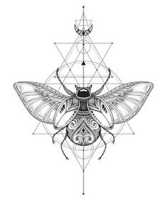 Hand drawn vector esoteric symbol, bug with sacred geometry.You can find Sacred geometry art and more on our website.Hand drawn vector esoteric symbol, bug with sacred geometry. Sacred Geometry Symbols, Sacred Geometry Tattoo, How To Draw Sacred Geometry, Esoteric Tattoo, Esoteric Art, Scarab Beetle Tattoo, Bug Tattoo, Compass Tattoo, Magick