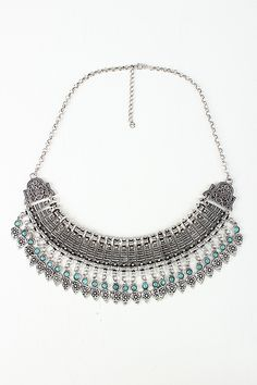 Bead and Floral Etch Statement Necklace