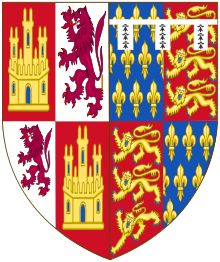 Coat of arms of John of Gaunt asserting his kingship over Castile and León, combining the Castilian castle and lion with lilies of France, the lions of England and his heraldic difference