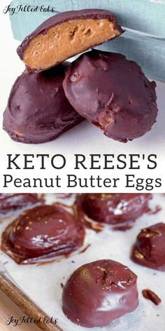 This Peanut Butter Eggs Recipe will fulfill your Easter craving. Try my healthy version of Reese's! Keto, Low Carb, Sugar-Free, THM S. Egg Recipes, Candy Recipes, Gourmet Recipes, Low Carb Recipes, Dessert Recipes, Recipies, Sugar Free Desserts, Low Carb Desserts, Gluten Free Desserts