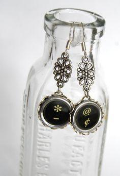 Typewriter Key Earrings  Funky Symbol Keys  Art by JustWearThese, $18.00