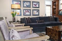 Charcoal and lilac velvet family room