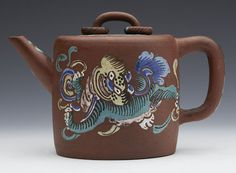 RARE ANTIQUE CHINESE YIXING LIDDED TEAPOT WITH PAINTED FO DOG 18/19TH C.