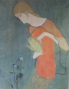 1917 env Jeune femme arrosant des fleurs Aquarelle et gouache 33 x 26 cm  Collection A. Lesieutre Paris