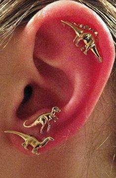 Cute Unique Multiple Ear Piercing Ideas for Teenagers - Dinosaur Cartilage Helix Ear Lobe Stud Earrings in Gold or Silver - aretes de dinosaurio orejas piercing ideas- www.MyBodiArt.com