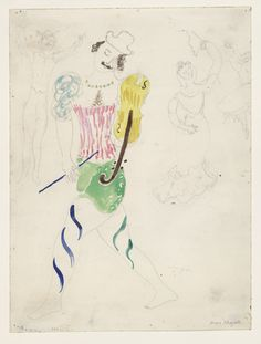 Marc Chagall. Clown, costume design for Aleko (Scene II). (1942)