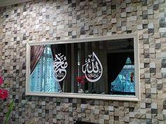 Mushola rumah minimalis dinding batu alam kaligrafi