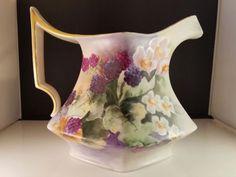 Antique Limoges porcelain pitcher by T&V. Hand painted