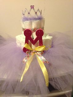 Tutu diaper cake made by me!