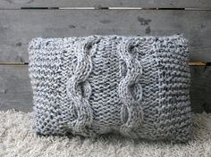 Cable Knit Pillow in Marble Grey. Shabby chic & french country.
