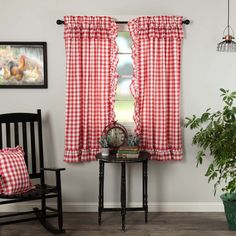 Decorate your windows with a touch of classic, farmhouse style with these romantic 63x36 drapes. Displaying exquisite, timeless design with large scale red and white checks, our Annie Buffalo Red Check Ruffled Panel set enhances your home decor with fanciful, cozy appeal that adds interest to your living room, dining room, or bedroom. These 100% cotton curtains have a white lining to keep away the sun's glare and include a rod pocket with a ruffled edge for added charm and easy hanging. This set Farmhouse Curtains, Country Curtains, Farmhouse Decor, Farmhouse Style, Antique Farmhouse, Cotton Curtains, Lined Curtains, Colorful Curtains, Swag Curtains
