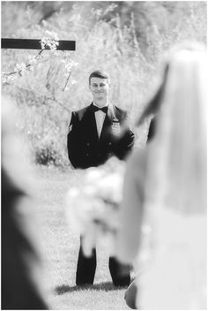 Grooms first look of his bride walking down the Aisle!!