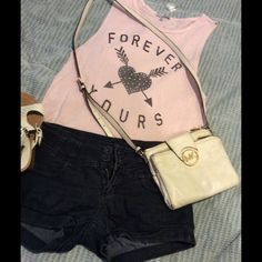Girls bundle- jeans shorts And tank top Jeans shorts (itz Me) size M, thank top vintage pink color size M Charlotte Russe Tops Tank Tops
