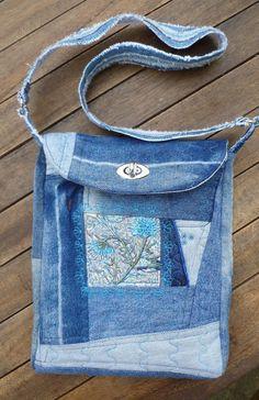 Beaded flower denim patchwork shoulder bag by suegoode on Etsy