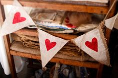 heart bunting maybe made with burlap and a potato stamp? Burlap Bunting, Bunting Garland, Buntings, Heart Banner, Heart Garland, My Funny Valentine, Valentines Day Party, Painting Burlap, Arts And Crafts