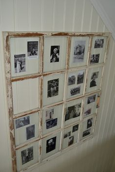 old window with photos in each pane Wall, Old Doors, Wall Spaces, Old Frames, Windows, Window Frame Picture, Home Look, Recycled Windows, Photo Booth Picture Frames