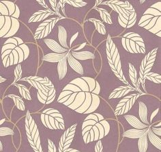 Folia Silhouette (DIOWFS104) - Sanderson Wallpapers - The same profusion of entwined foliage and stems ramble across this wide width design – a simpler version of the Folia design, shown here in the Purple colourway.  Available in 7 colours. Please ask for sample for true colour match.