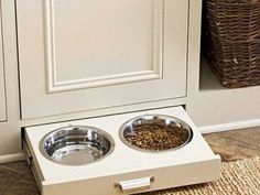 pull out bowls. #interiordesign #pets