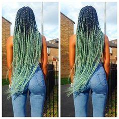 green ombre braids - Google Search
