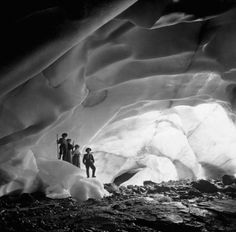 EXPLORING NATURE: Ice Cave Under Paradise Glacier, Washington Two men and two women explore an ice cave underneath part of Paradise Glacier in 1908.