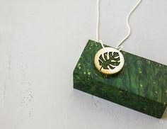 Leaf Necklace  Monstera Leaf  Green Leaf Necklace by TanukDolotova
