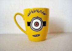 Hand painted Yellow Ceramic Mug Minion Mug by MarmadeCeramics, €9.00