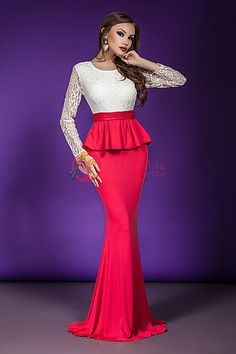 Dress Images, Peplum Dress, Coral, Glamour, Formal Dresses, Fashion, Women, Dresses For Formal, Moda