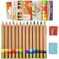 Lápis de Cor 3 em 1 Multicolorido 12 Cores Koh-I-Noor especial desenha linha multicolorida, composta de várias tonalidades em 1 único lápis, basta girar o lápis p/ que ele mude de cor.Uma pequena mudança no ângulo mudará a diversidade de cores. P/ conseguir um efeito de sombreamento, só precisa usar um instrumento de desenho e mudar o ângulo de sua ponta p/ obter o efeito desejado.Composto de 12 Lápis + 01 Blender (Clareador) + 01 Apontador + 01 Borracha. www.sinoart.com.br R$ 156,36…