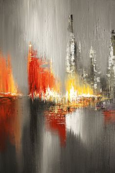 Abstract Cityscape Palette Knife Original Painting by TatianasART