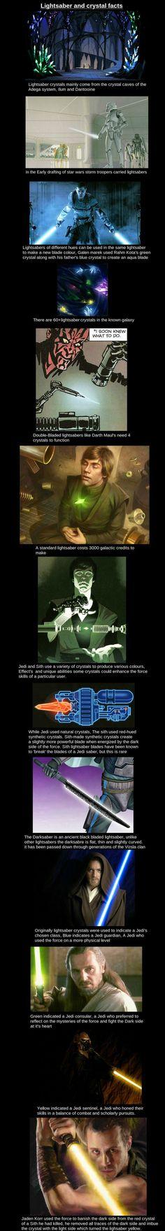 Lightsaber Crystals, geeky fandom facts