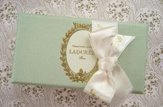 Satin bow, mint green box, golden foliage frame