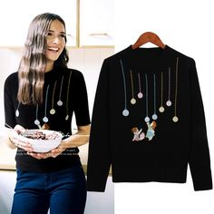 Spring Autumn New Ladies Cartoon Embroidery Knitting Sweater Women Mori  Girl Casual Long Sleeve Pullover Sweaters 76e604cb3