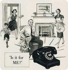 The sweet and simple family phone in the days before cellular. ~ ca. 1950s