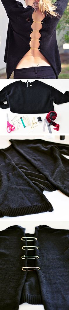 upcycle sweater with XL safety pin trim