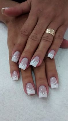 Nail unha francesinha bridal nails french, nail french, french manucure, french tips, French Nail Designs, Nail Art Designs, French Nail Art, Toe Nails, Pink Nails, Coffin Nails, French Manicure Nails, Manicure Ideas, Glitter French Nails