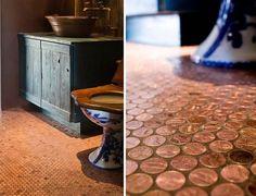 Vloerafwerking van stuivers/penny's, fantastisch idee. Door rvandiemen