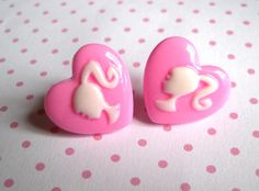 Pink Heart Girl Cameo Stud Earrings, Cute, Retro, Resin, Kitsch, Girly, Ponytail, Kawaii by LoveHeartTrinkets on Etsy https://www.etsy.com/listing/156269803/pink-heart-girl-cameo-stud-earrings-cute