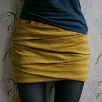 folded miniskirt tutorial.  I want to make one.  Longer, like a pencil skirt, but still the same design.