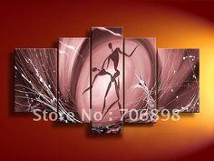 çerçeveli 5 panelleri 100% el yapımı tango tuval üzerine yağlıboya duvar sanatı resmi ev dekorasyonu- t0154(China (Mainland))