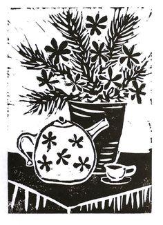 "Still life black original linocut 3.5"" x 5"" print teapot plant flower plant on Etsy, $12.98 AUD"