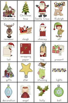 Free PDF Christmas Vocabulary Charts and Writing Tasks