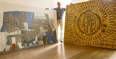 """Kucera Gallery owner on a mission recoveres two stolen Whiting Tennis paintings """"Blue Hamburger"""" (2007), left, and """"Document"""" (1995)."""