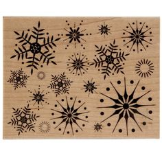 <div>This stamp is an assortment of sparkly, graphic snowflakes all in one stamp. It is perfect ...