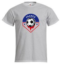 """T-shirt Homme FRUIT OF THE LOOM Gris Chiné - T-shirt """"Logo France"""" #euro2016 #football #foot #allezlesbleus #tshirtpersonnalisé #comboutique"""
